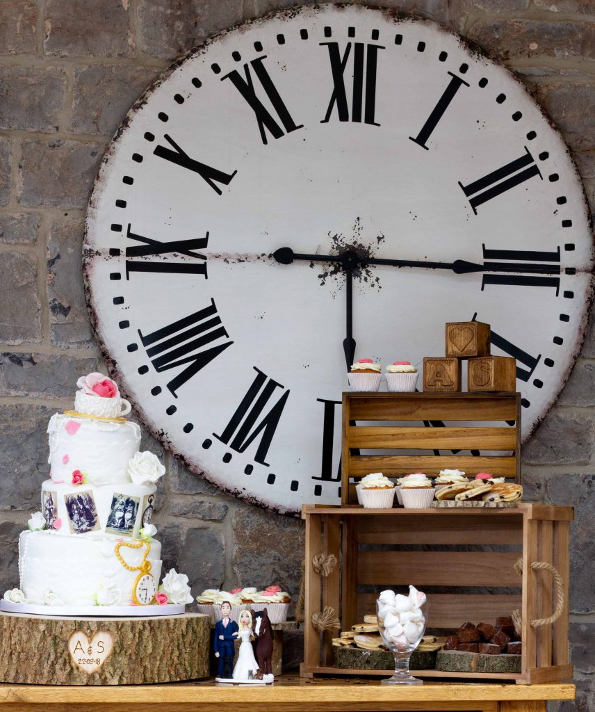 Giant clock with Alice-in-Wonderland cake by Kadi Berry photography, Pembrokeshire, Wales