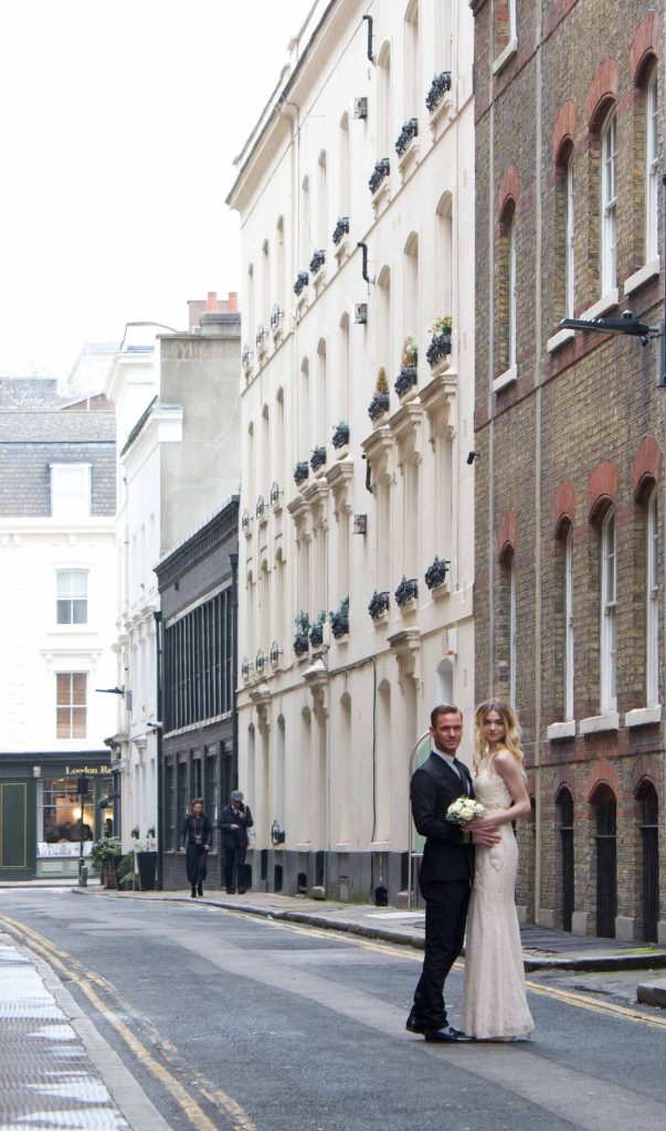 Bride & groom on a London street by Kadi Berry Photography, Pembrokeshire, Wales